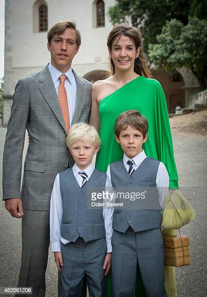 Prince Louis and Princess Tessy of Luxembourg with their children pose after the Christening ceremony of Princess Amalia at the Saint Ferreol Chapel...