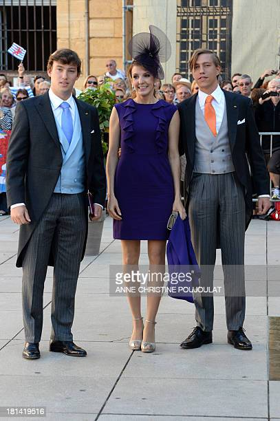 Prince Louis his wife Princess Tessy and Prince Sebastien pose upon arrival at the Religious Wedding Ceremony of their respectively brother...