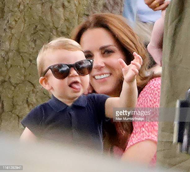 Prince Louis of Cambridge and Catherine, Duchess of Cambridge attend the King Power Royal Charity Polo Match, in which Prince William, Duke of...