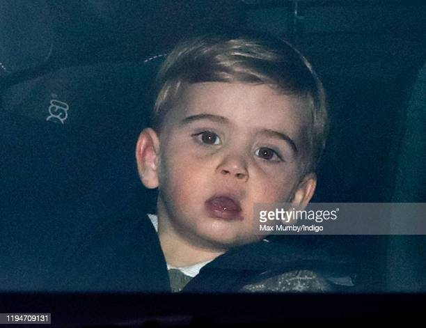 Prince Louis of Cambridge attends a Christmas lunch for members of the Royal Family hosted by Queen Elizabeth II at Buckingham Palace on December 18,...