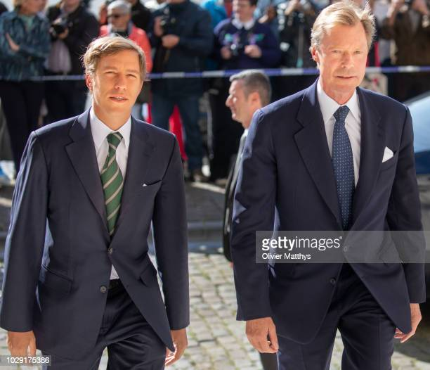 Prince Louis of Luxembourg and Grand Duke Henri of Luxembourg arrive prior to attend a mass to remember the 25th anniversary of the death of King...