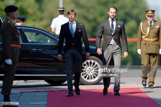 Prince Louis of Luxembourg and Prince Felix of Luxembourg arrive at the Philharmonie for the concert on the National Day on June 23 2019 in...