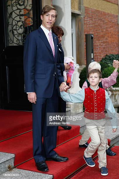 Prince Louis of Luxembourg and Prince Gabriel of Luxembourg depart the Civil Wedding Of Prince Felix Of Luxembourg and Claire Lademacher at Villa...
