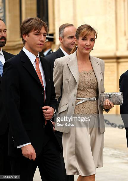 Prince Louis of Luxembourg and Princess Tessy of Luxembourg on their way back from the civil ceremony for the wedding of Prince Guillaume Of...