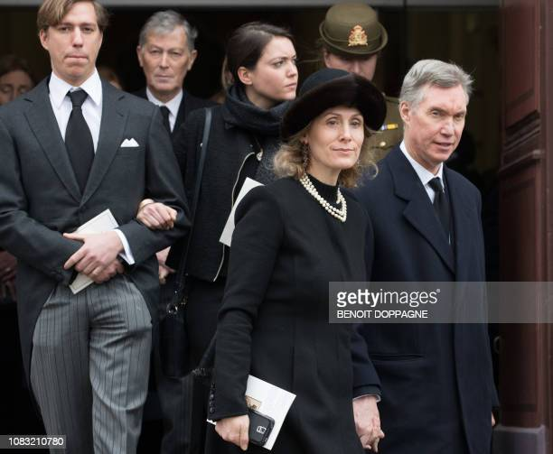 Prince Louis of Luxembourg and Tessa Antony and Princess Sibilla and Prince Guillaume of Luxembourg pictured after the funeral service for Count...