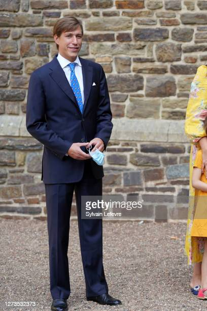 Prince Louis of Luxembourg arrives for the baptism of Prince Charles of Luxembourg at l'Abbaye St Maurice on September 19, 2020 in Clervaux,...