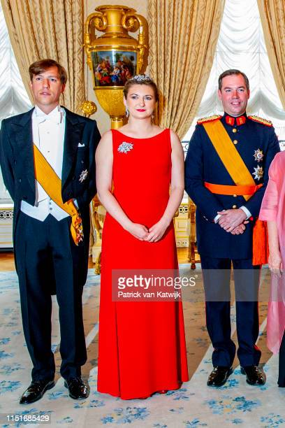 Prince Louis of Luxembourg Hereditary Grand Duchess Stephanie of Luxembourg and Hereditary Grand Duke Guillaume of Luxembourg during the reception at...