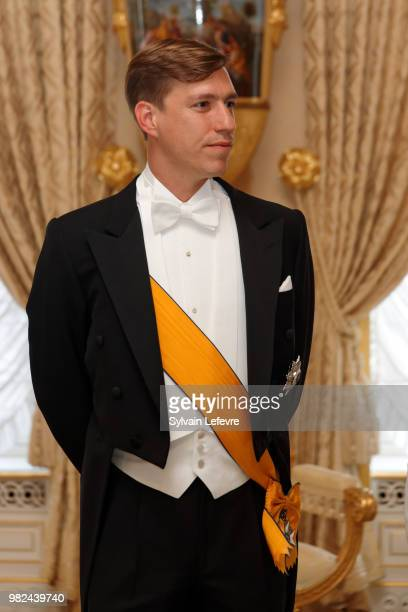 Prince Louis of Luxembourg pose for photographers before the official dinner for National Day at the ducal palace on June 23 2018 in Luxembourg...