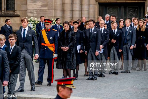 Prince Louis of Luxembourg Prince Sebastien of Luxembourg and Princess Alexandra of Luxembourg attend the funeral of Grand Duke Jean of Luxembourg on...