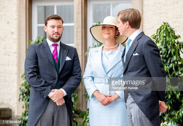Prince Louis of Luxembourg, Princess Alexandra of Luxembourg and Prince Sebastien of Luxembourg attend the Te Deum thanksgiving mass in the Cathedral...