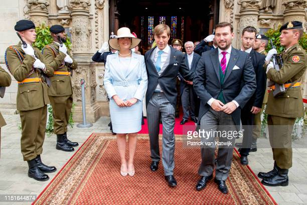 Prince Louis of Luxembourg Princess Alexandra of Luxembourg and Prince Sebastien of Luxembourg attend the Te Deum thanksgiving mass in the Cathedral...