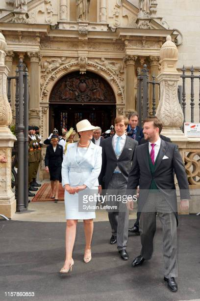 Prince Louis of Luxembourg, Princess Alexandra of Luxembourg and Prince Sebastien of Luxembourg leave after attending the Te Deum thanksgiving mass...