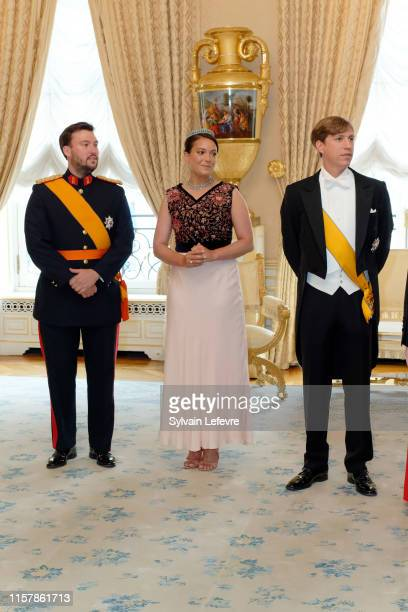 Prince Louis of Luxembourg, Princess Alexandra of Luxembourg and Prince Sebastien of Luxembourg during the reception at the Grand Ducal Palace on the...