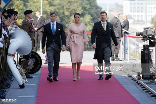 Prince Louis of Luxembourg Princess Alexandra of Luxembourg and Prince Sebastien of Luxembourg arrive at Luxembourg Philarmonie hall for official...