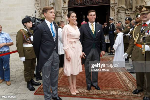 Prince Louis of Luxembourg Princess Alexandra of Luxembourg and Prince Sebastien of Luxembourg leave Notre Dame du Luxembourg cathedral after...