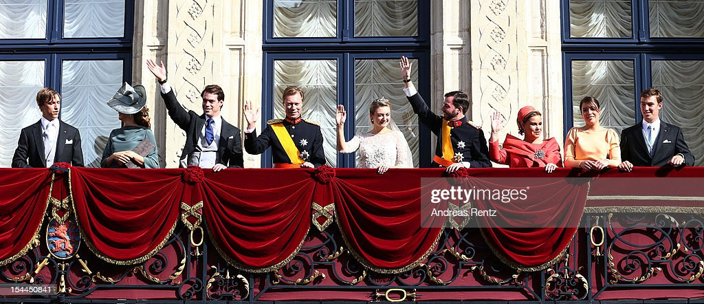 Prince Louis of Luxembourg, Princess Tessy of Luxembourg, Prince Felix of Luxembourg, Grand Duke Henri of Luxembourg, Princess Stephanie of Luxembourg, Prince Guillaume of Luxembourg, Grand Duchess Maria Teresa of Luxembourg, Princess Alexandra of Luxembourg and Prince Sebastien of Luxembourg pose on the balcony after the wedding ceremony of Prince Guillaume Of Luxembourg and Princess Stephanie of Luxembourg at the Cathedral of our Lady of Luxembourg on October 20, 2012 in Luxembourg, Luxembourg. The 30-year-old hereditary Grand Duke of Luxembourg is the last hereditary Prince in Europe to get married, marrying his 28-year old Belgian Countess bride in a lavish 2-day ceremony.