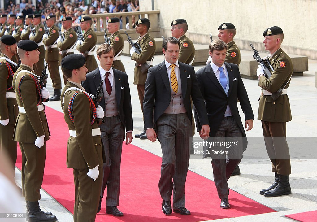 Prince Louis, Prince Felix and Prince Sebastien of Luxembourg attend the Te Deum for National Day on June 23, 2014 in Luxembourg, Luxembourg.
