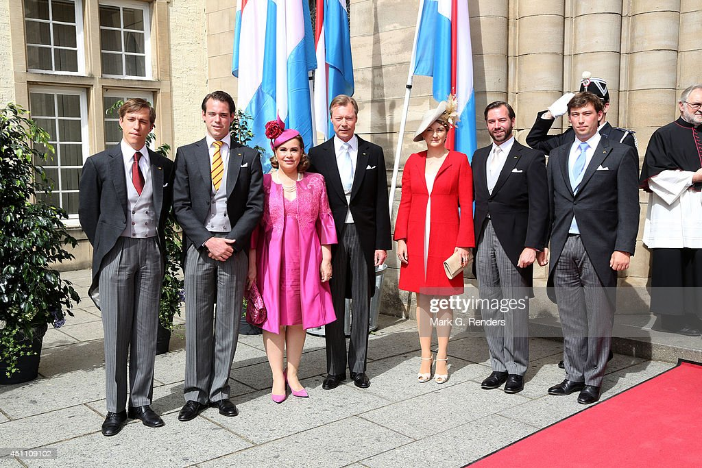 Prince Louis, Prince Felix, Grand Duchess Maria Teresa, Grand Duke HenriPrincess Stephanie, Prince Guillome and Prince Sebastien of Luxembourg attend the Te Deum for National Day on June 23, 2014 in Luxembourg, Luxembourg.