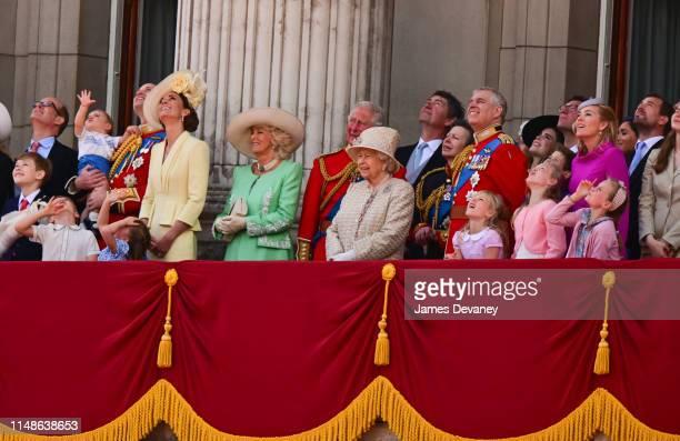Prince Louis, Prince George, Prince William, Duke of Cambridge, Princess Charlotte, Catherine, Duchess of Cambridge, Camilla, Duchess of Cornwall,...