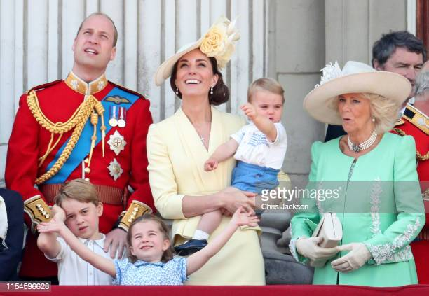 Prince Louis Prince George Prince William Duke of Cambridge Princess Charlotte Catherine Duchess of Cambridge and Camilla Duchess of Cornwall during...