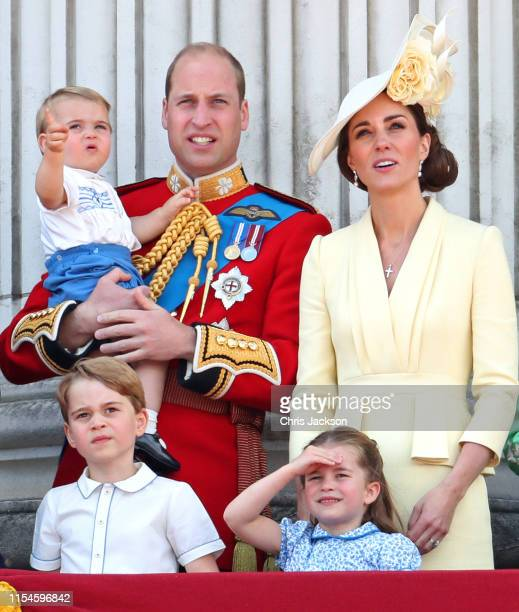 Prince Louis, Prince George, Prince William, Duke of Cambridge, Princess Charlotte and Catherine, Duchess of Cambridge during Trooping The Colour,...