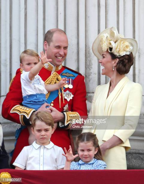 Prince Louis Prince George Prince William Duke of Cambridge Princess Charlotte and Catherine Duchess of Cambridge during Trooping The Colour the...