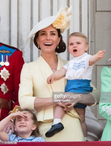 Prince Louis, Princess Charlotte and Catherine, Duchess of Cambridge appear on the balcony during Trooping The Colour, the Queen's annual birthday...