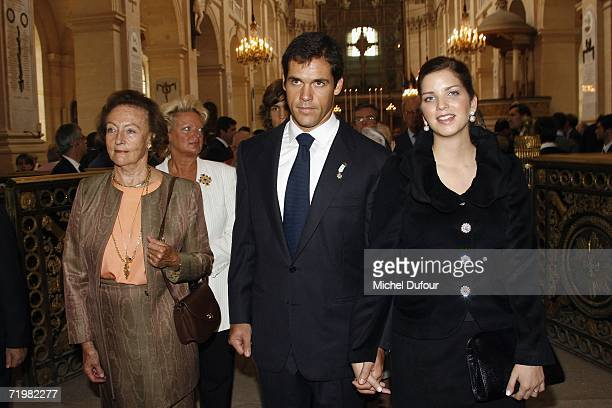 Prince Luis Alfonso de Bourbon and his wife Princess Maria del Carmen attend the mass celebrated at the church Saint Louis des Invalides to...