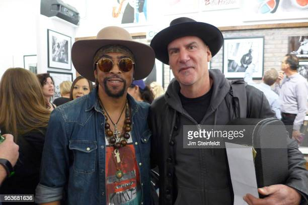 Prince manager Owen Husney has a book book signing at Mr Musichead Gallery in Los Angeles California on April 26 2018 Andre Cymone and Peter Himmelman