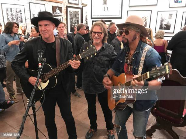 Prince manager Owen Husney has a book book signing at Mr Musichead Gallery in Los Angeles California on April 26 2018 Peter Himmelman Owen Husneyand...