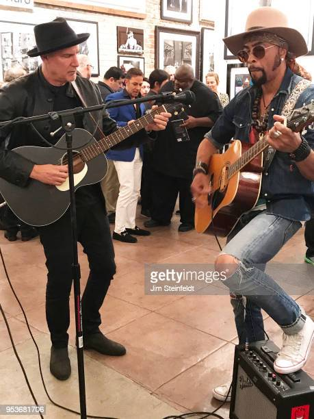 Prince manager Owen Husney has a book book signing at Mr Musichead Gallery in Los Angeles California on April 26 2018 Peter Himmelman and Andre Cymone