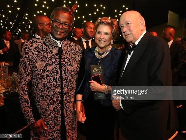Prince Mangosuthu Buthelezi former president FW de Klerk wife Elita Georgiades and former president FW de Klerk at Buthelezis lavish 90th birthday...