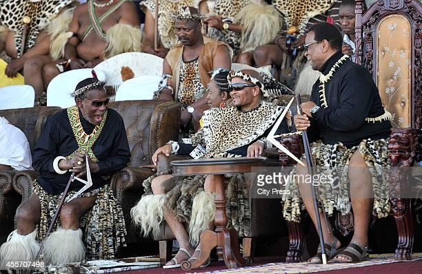 Prince Mangosuthu Buthelezi KZN Premier Senzo Mchunu and King Goodwill Zwelithini at the annual reed dance at eNyokeni Royal Palace on September 6...