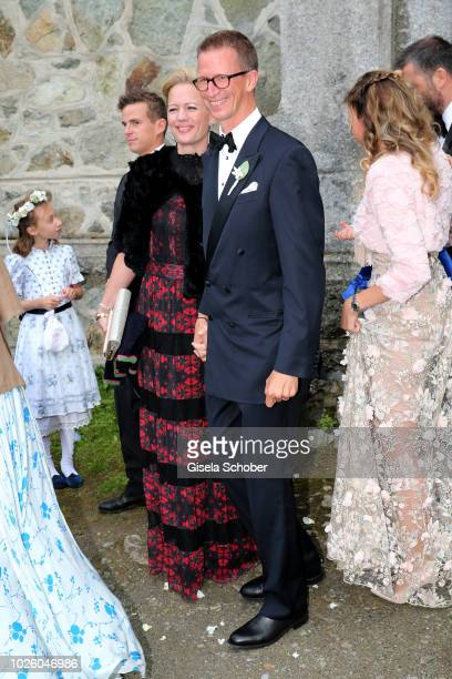 Prince Manuel of Bavaria and his wife Anna of Bavaria during the wedding of Prince Konstantin of Bavaria and Deniz Kaya at the french church 'Eglise...