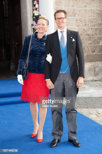 Prince Manuel of Bavaria and his wife Princess Anna of Bavaria arrive at the SaintQuirin Church for the wedding of Duchess Sophie of Wurttemberg and...