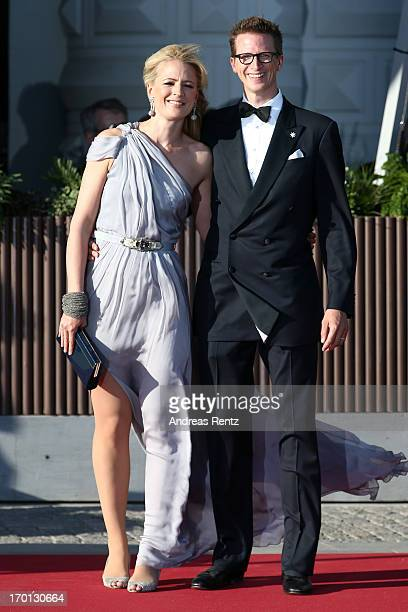 Prince Manuel of Bavaria and Princess Anna of Bavaria arrive at a private dinner on the eve of the wedding of Princess Madeleine and Christopher...