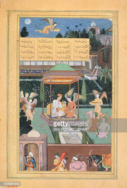 Prince Manuhar visited at night by winged genies miniature from Khamsem by Khosrow Kihlavi