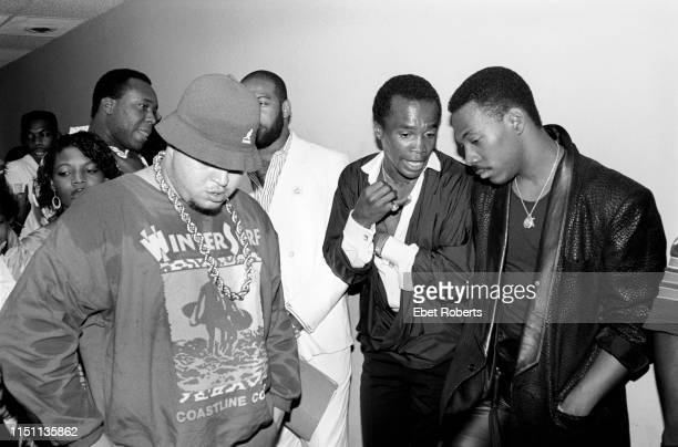 Prince Markie Dee of the Fat Boys with Sugar Ray Leonard and Eddie Murphy at the premiere for the Fat Boys 'Disorderlies' movie in New York City on...