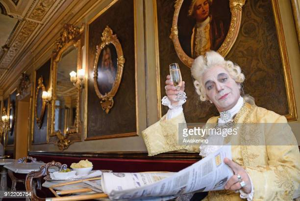 Prince Maurice dressed as Casanova drinks a prosecco at Florian Cafe in St Mark square during his venetian day during Carnival time on January 30...