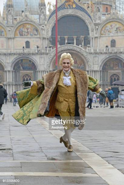 Prince Maurice dressed as Casanova walks in St Mark square during his venetian day during Carnival time on January 30 2018 in Venice Italy Actor...