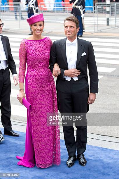 Prince Maurits and Princess Marilene of the Netherlands arrive at the Nieuwe Kerk in Amsterdam for the inauguration ceremony of King Willem Alexander...