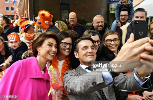 Prince Maurits and Princess Marilene take a selfie with the public in Amersfoort on Kings Day on April 27 2019 Dutch king WillemAlexander celebrates...