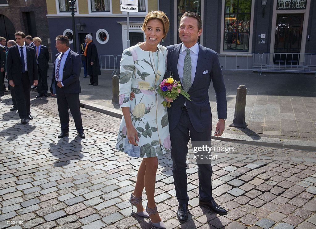 Prince Maurits and Princess Marilene walk through in Dordrecht, on April 27, 2015, during King's Day (Koningsdag), the celebration of the birthday of the king. The Dutch King and Queen will visit the city for the national holiday.