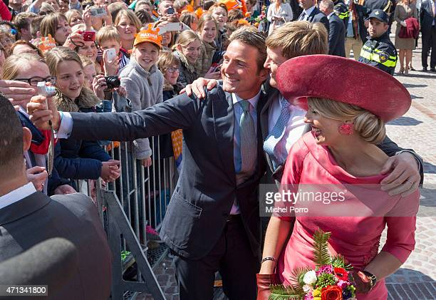 Prince Maurits King WillemAlexander and Queen Maxima of The Netherlands take a selfie during King's Day celebrations on April 27 2015 in Dordrecht...