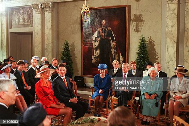 Prince Maurits of Netherlands looks to Marilene van den Broek during their civil wedding ceremony at Palace Het Loo in the Dutch town of Apeldoorn 29...