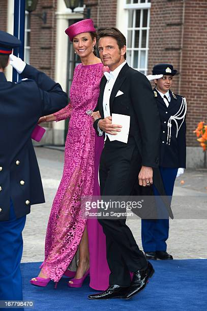 Prince Maurits of the Netherlands and MarieHelene Angela van den Broek depart the Nieuwe Kerk to return to the Royal Palace after the abdication of...
