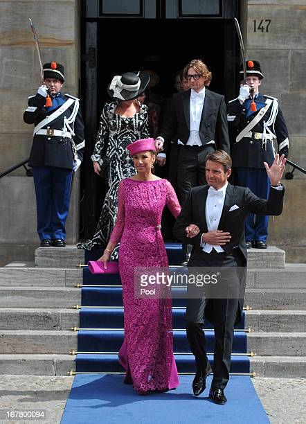 Prince Maurits of the Netherlands and MarieHelene Angela van den Broek attend the inauguration ceremony for HM King Willem Alexander of the...