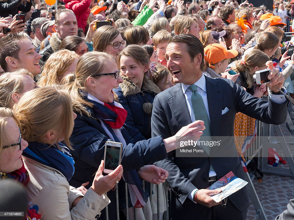 Prince Maurits of The Netherlands takes a selfie during King's Day celebrations on April 27, 2015 in Dordrecht, Netherlands.