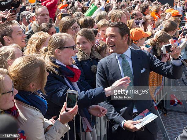 Prince Maurits of The Netherlands takes a selfie during King's Day celebrations on April 27 2015 in Dordrecht Netherlands
