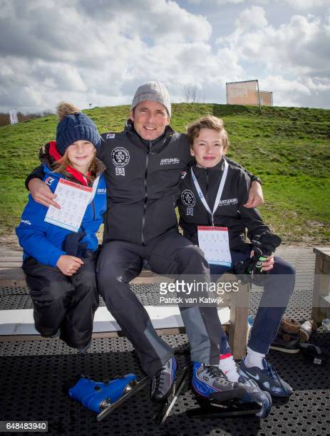 Prince Maurits of The Netherlands with his children Lucas and Felicia at the Hollandse 100 ice skating and cycling fund raising event at Flevonice on...